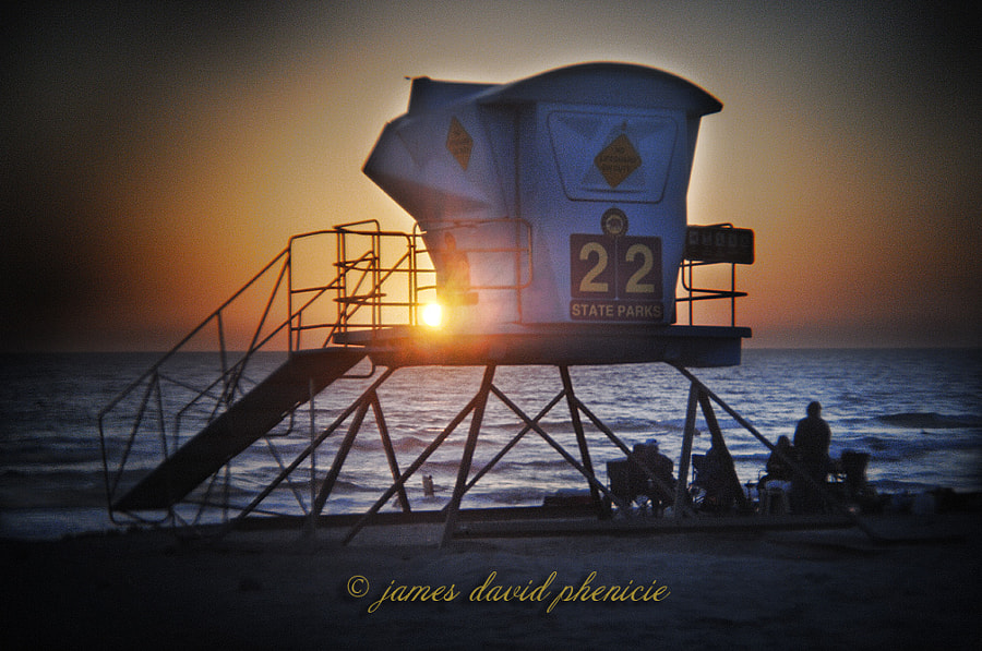 Beach Series:  Guard Tower #22 on  Ponto Beach at Sunset.
