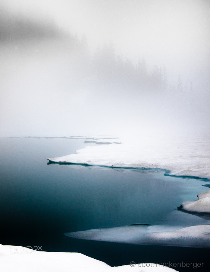 Fog, ice, water and trees at Blanca lake in Washington's North Cascades.
