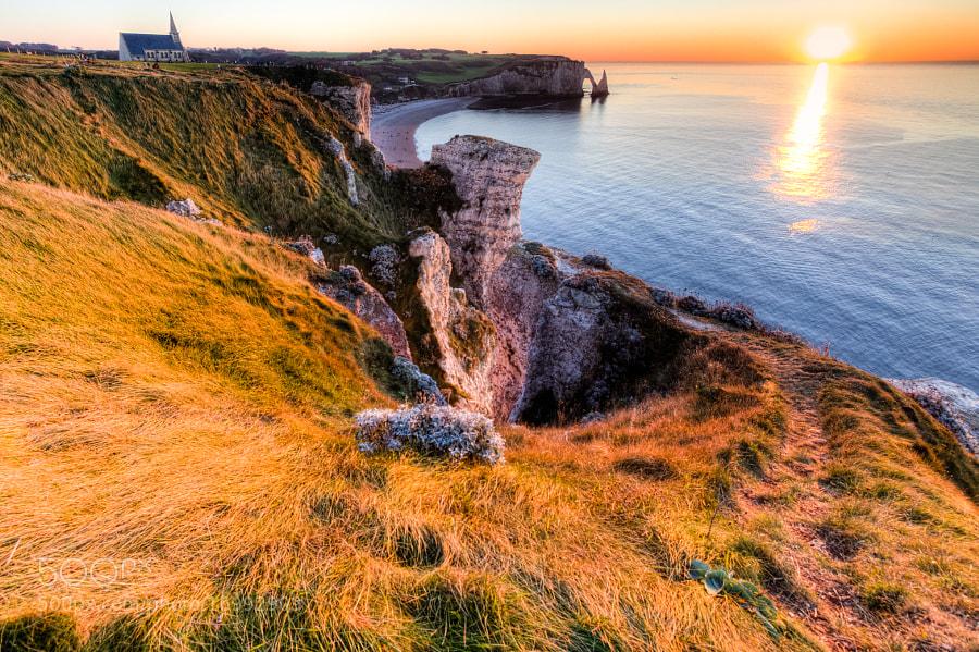 Sunset on Etretat Cliff