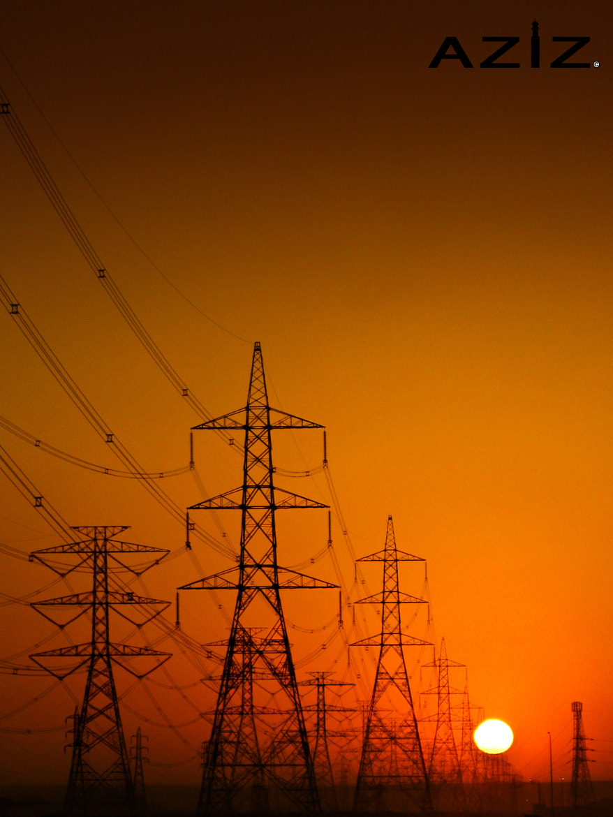 Photograph Electricity Towers -  Sunset by AZIZ Photographer on 500px