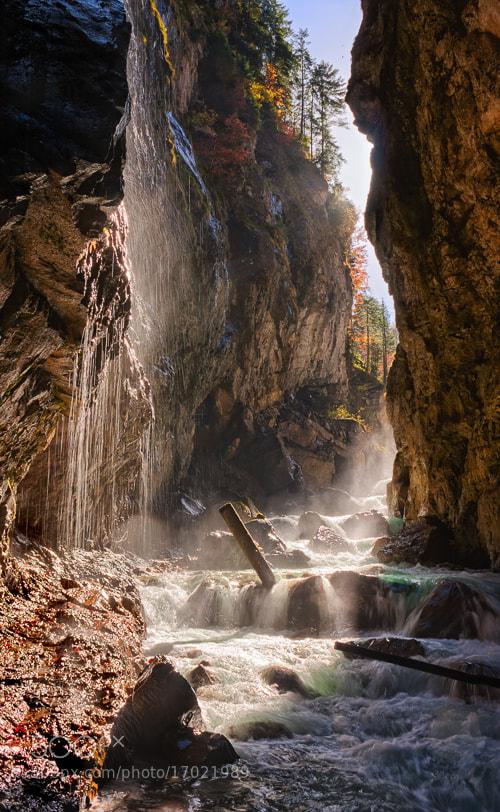 Autumn lights in gorge of Partnach