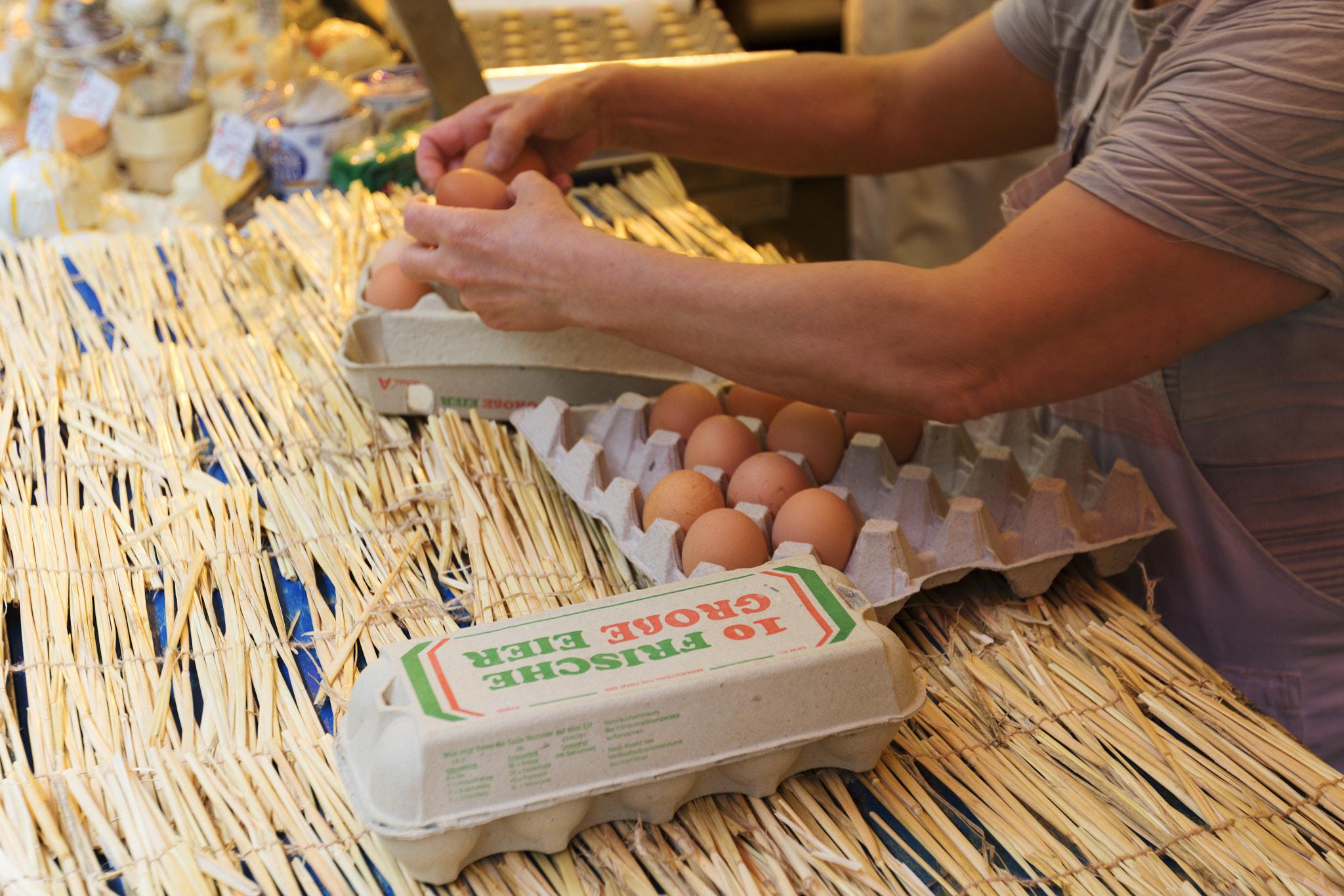 Eggs at the local farmer market.