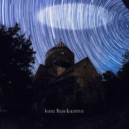 Star trails with Saint Holly Mother church in Bjni