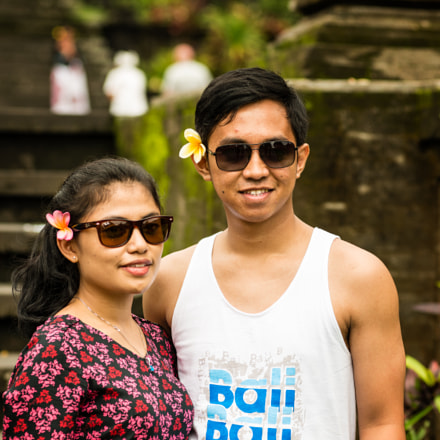 An Indonesian couple visiting Besakih Temple