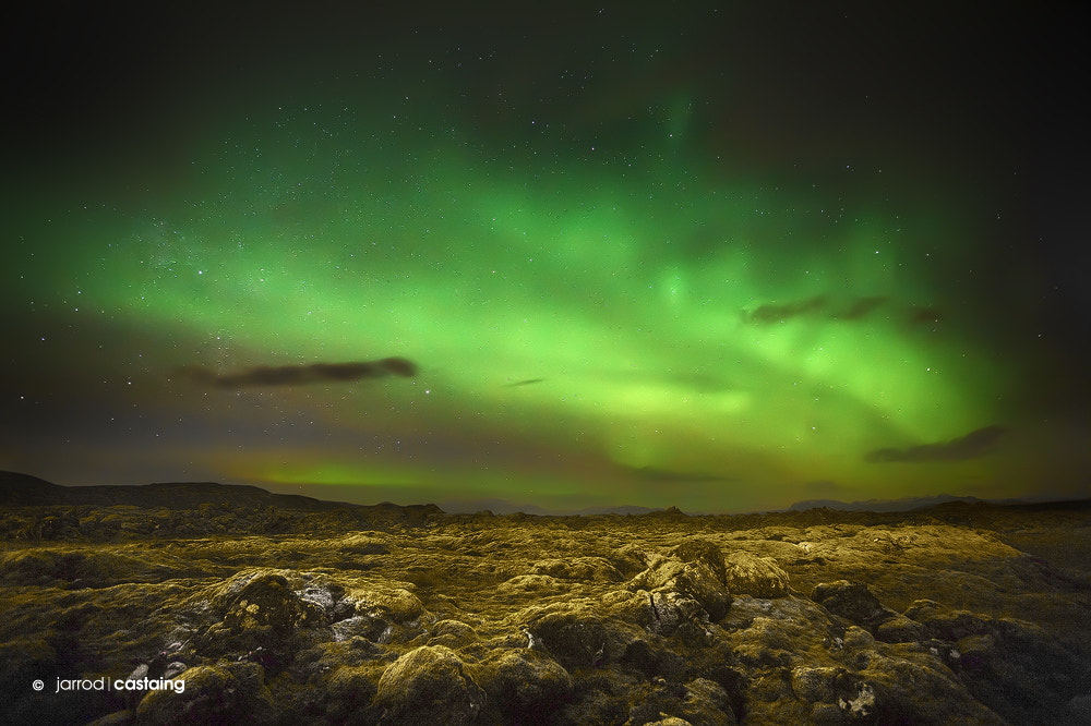Photograph Aurora Borealis over Lava Fields by Jarrod Castaing on 500px