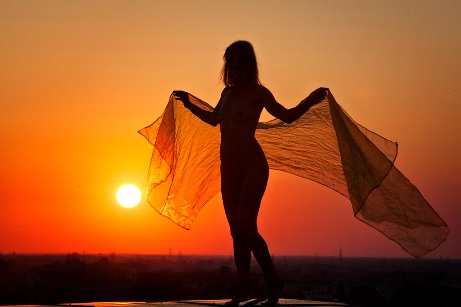 Angel sunset