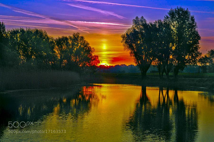 Nature, sunrise, lake, Slovakia