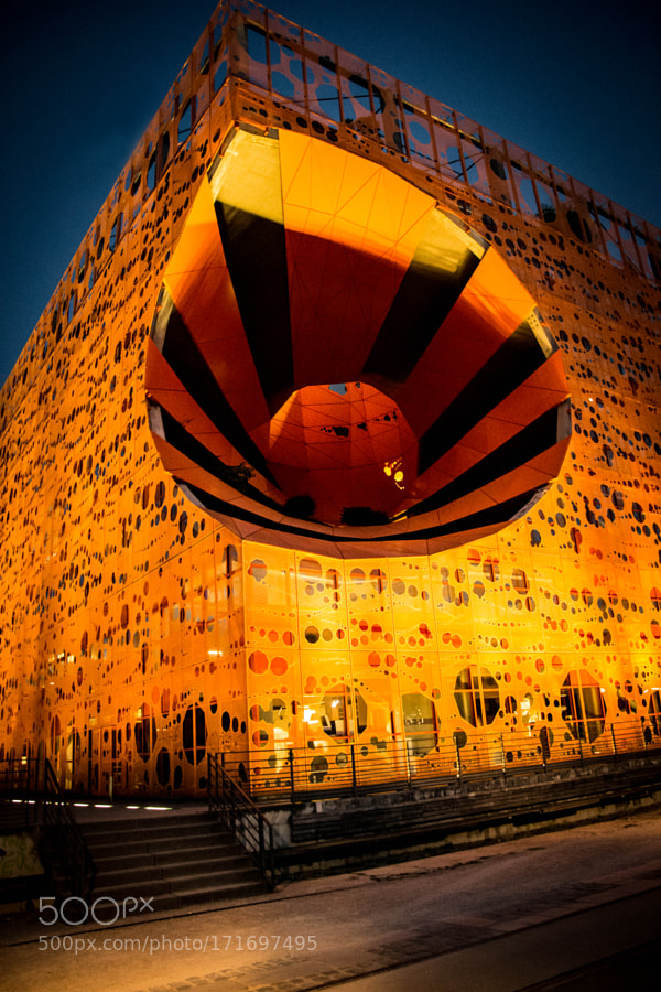 Orange cube in the city