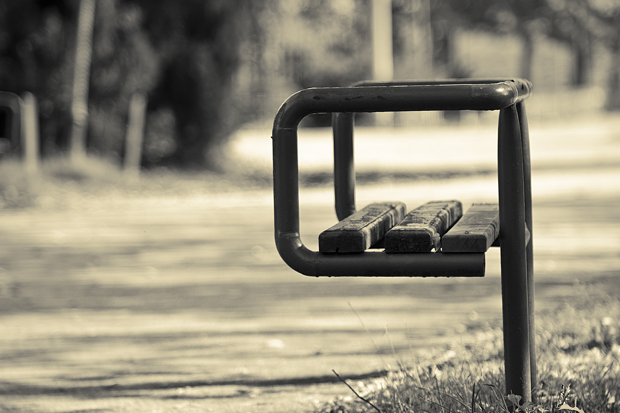 Photograph alone, bench seats waiting for people to by Can Dogan on 500px