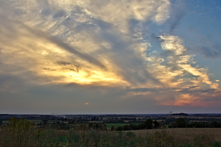 The sunset from Chesterton Windmill.