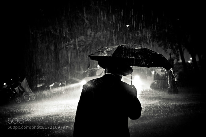Photograph Black and white rain, New York by David Sark on 500px