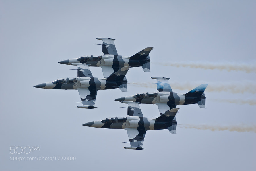 Four L-29 Albatros aircraft from the Heavy Metal Jet Team perform at the Boston/Portsmouth Airshow, Pease ARB, Portsmouth, NH, on August 13, 2011