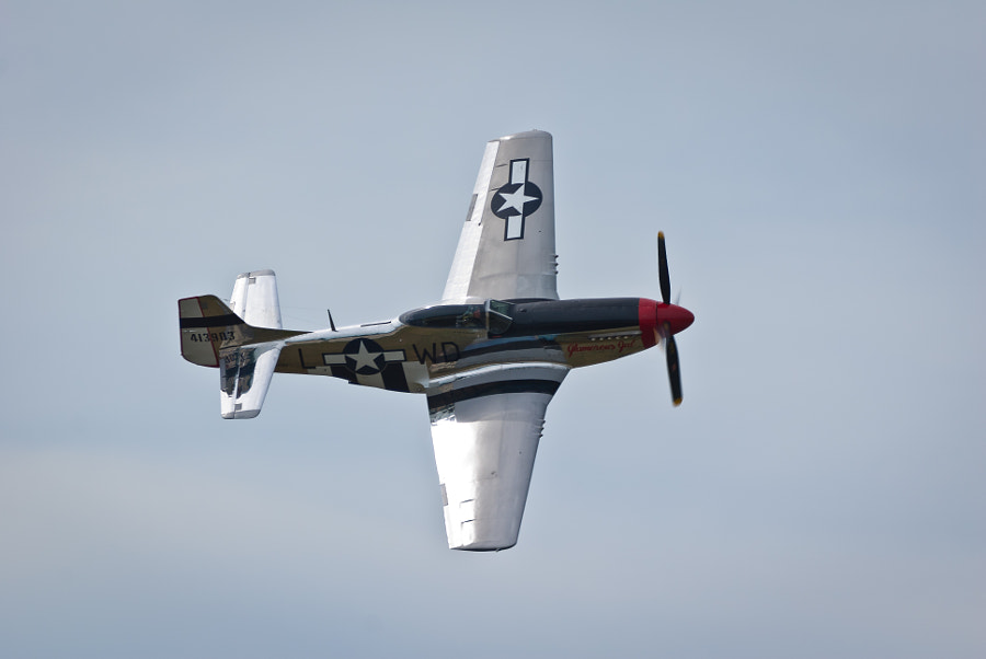 A P-51 Mustang makes a close pass at the Boston/Portsmouth Airshow, Pease ARB, Portsmouth, NH, on August 13, 2011