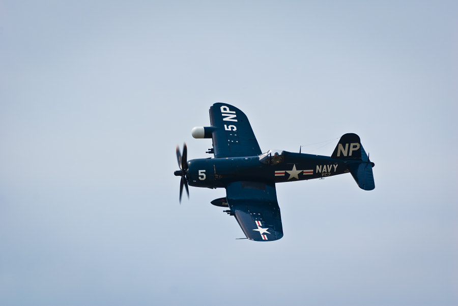 An F4U Corsair makes a photo pass at the Boston/Portsmouth Airshow, Pease ARB, Portsmouth, NH, on August 13, 2011
