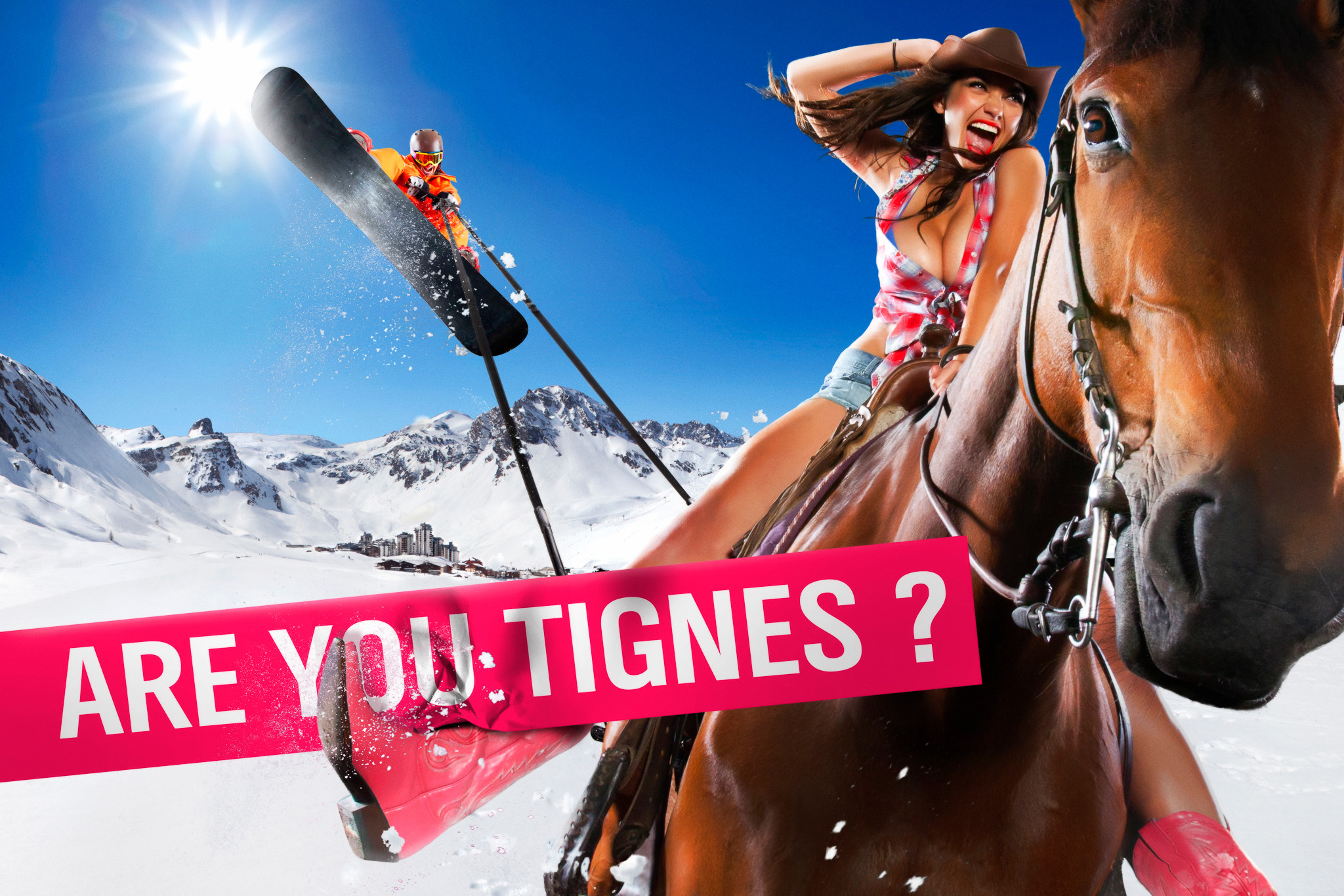 Photograph Tignes communication campaign 2010 - the horse and the snowboarder by Tristan Shu on 500px