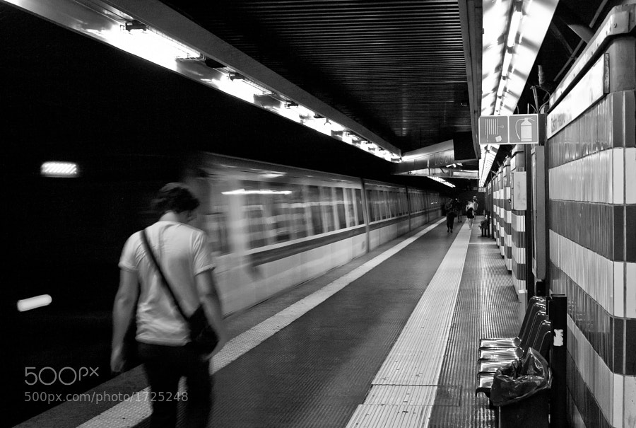 Rome metro train leaves the station