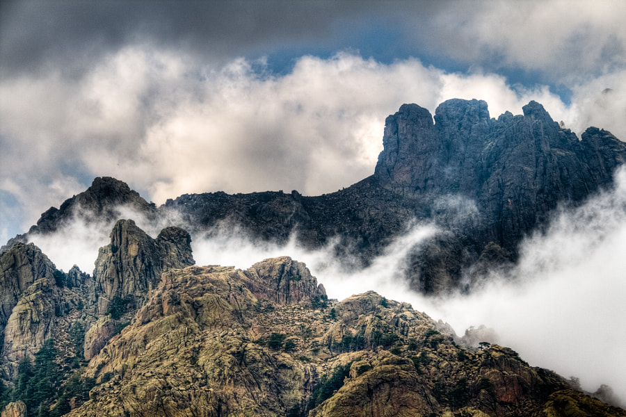 Bavella peaks in the clouds.