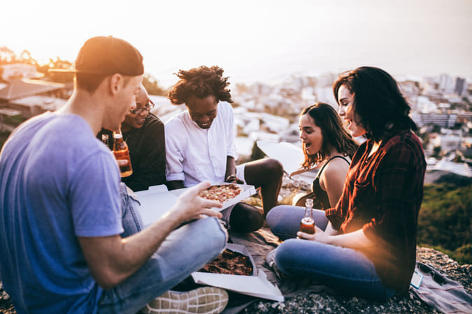Hipster Friends having drinks and eating pizza by Alejandro Santiago on 500px