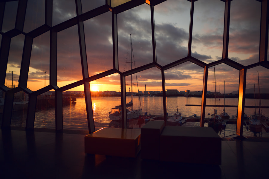 Reykjavik sunset through glass