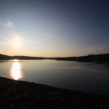 River with the sun., Canon EOS 1000D
