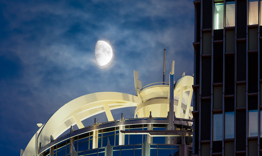Photograph The Moon Over 111 Huntington, Boston, Massachusetts by Stanton Champion on 500px