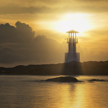 Lighthouse in Sunset., Sony ILCE-7M2, Canon EF 90-300mm f/4.5-5.6 USM