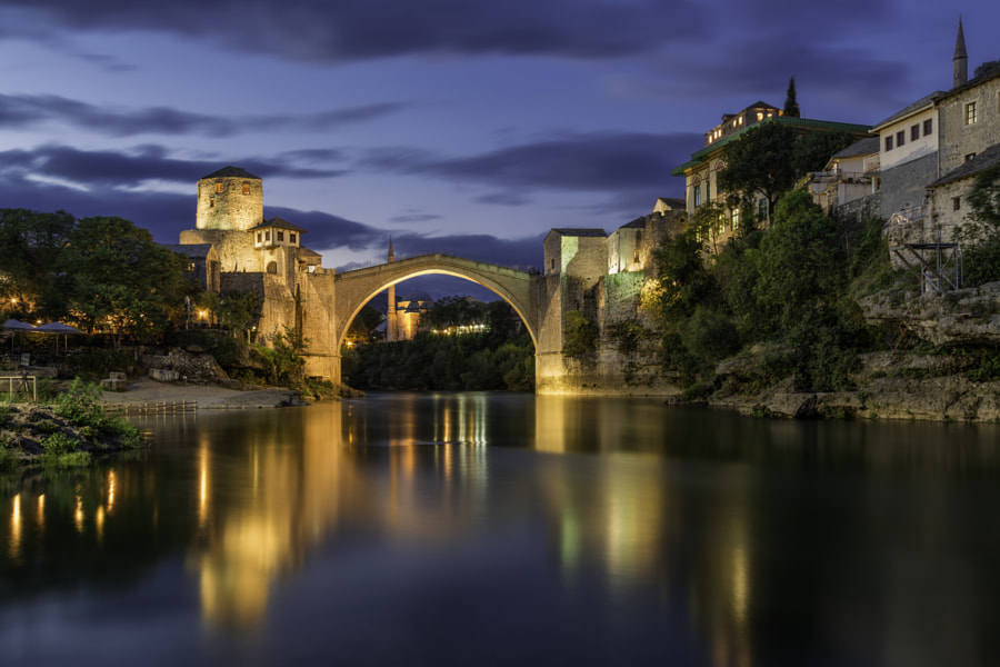 Blue Hour in Old Town, Mostar by Sasa Petrovic on 500px.com