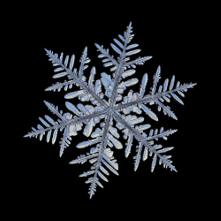 Snowflake isolated on black, Canon POWERSHOT A650 IS