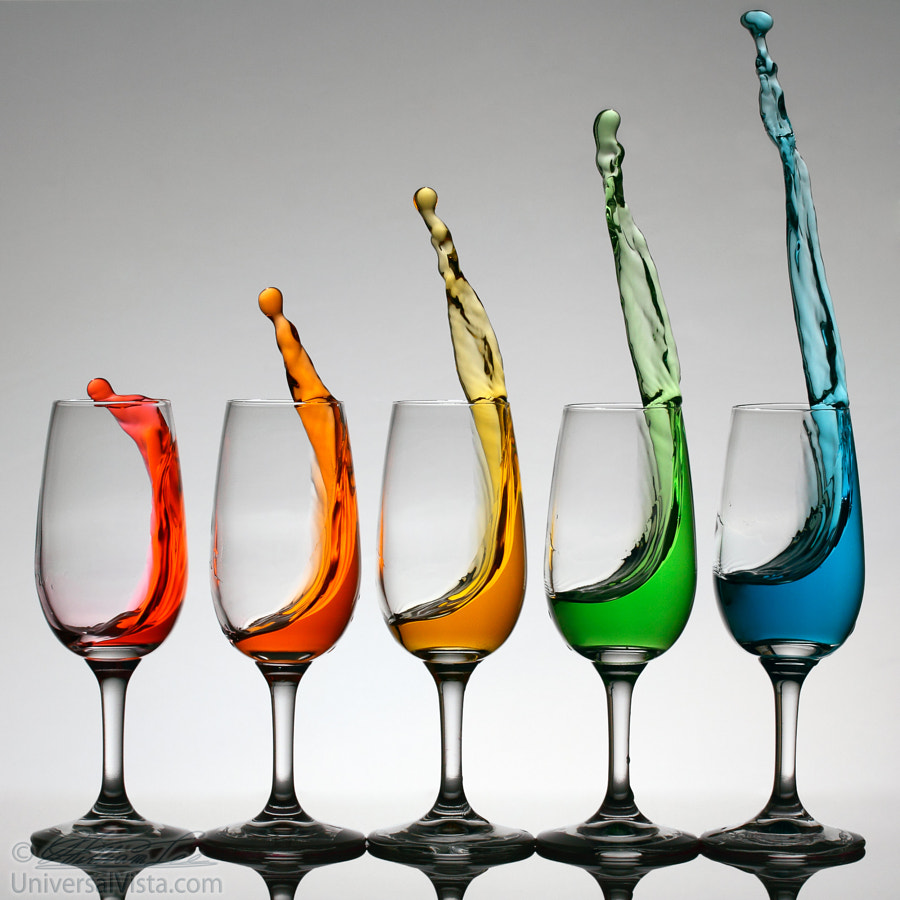 Cheers higher with colorful splashes from wine glasses by William Lee