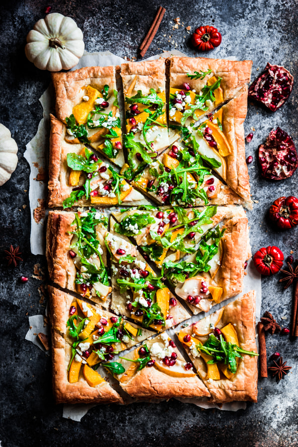 Autumn tart with pumpkin, pears,arugula and pomegranate seeds on by Alena Haurylik on 500px.com