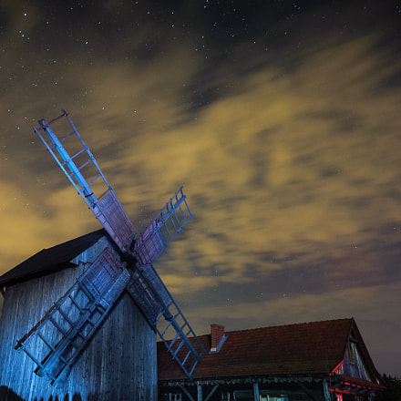 Mill in night scenery., Nikon D700, Sigma 24mm F1.8 EX DG Aspherical Macro
