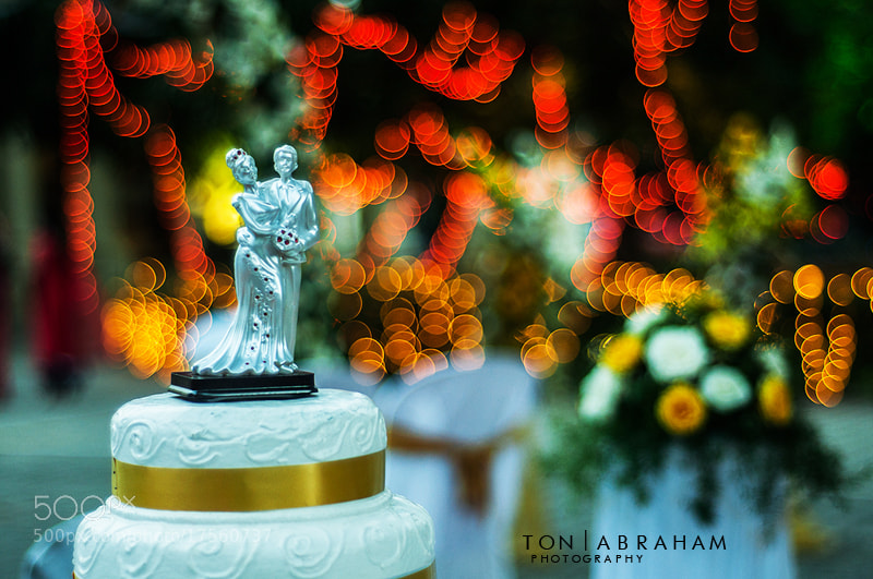 Wedding cake and beautiful bokeh