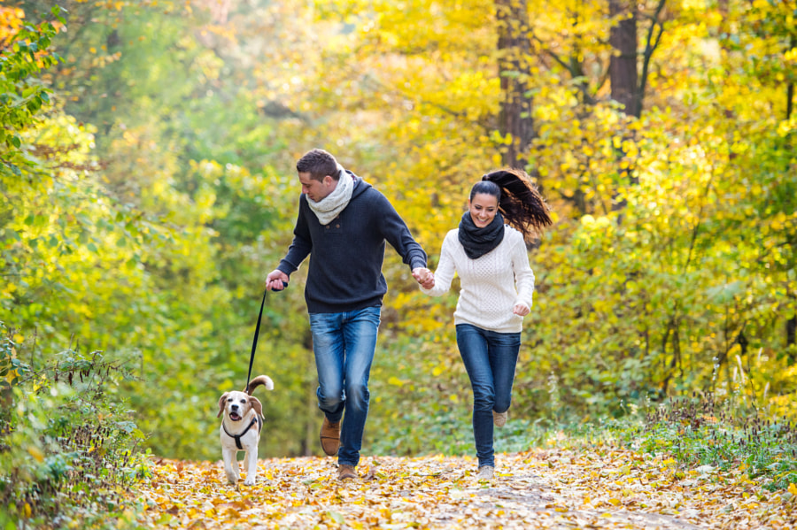 Beautiful young couple with dog running in autumn forest by Jozef Polc on 500px.com