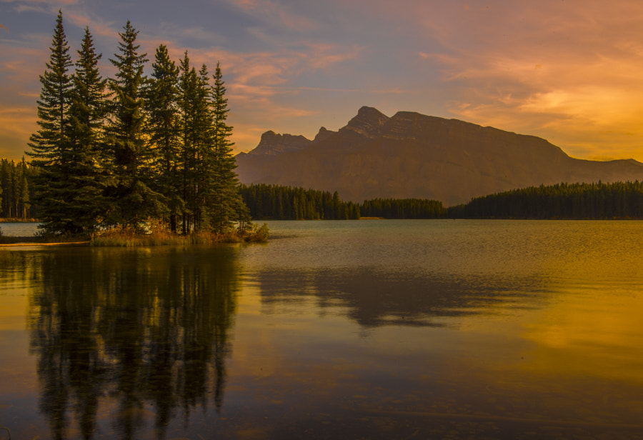 two jack lake sunset fall by Mark Bowen on 500px.com