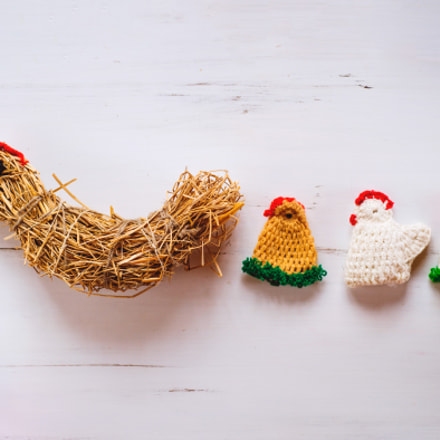 Three crocheted Easter chickens, Nikon D4S, AF Nikkor 50mm f/1.8D