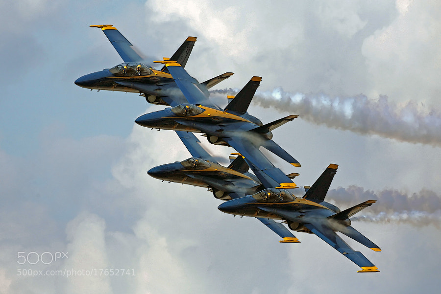 Blue Angels 'four-ship' featuring a pair of two seat F/A-18D Legacy Hornets as bookends.