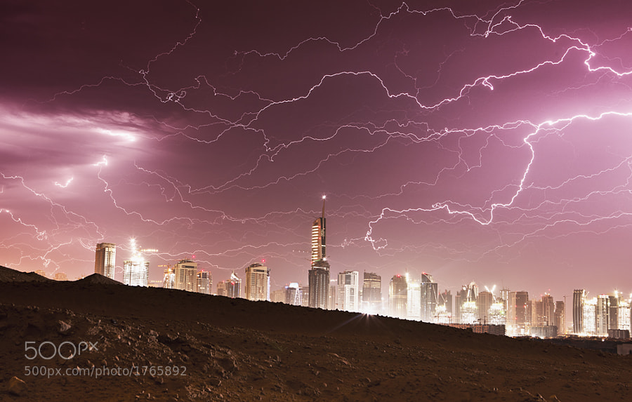 A rare sight in this part of the world. Lightning in Dubai. This was one of my scariest moments while taking shots here in the city. The noise was incredible.