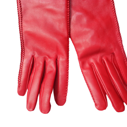 Red leather women's gloves, Sony DSC-W730