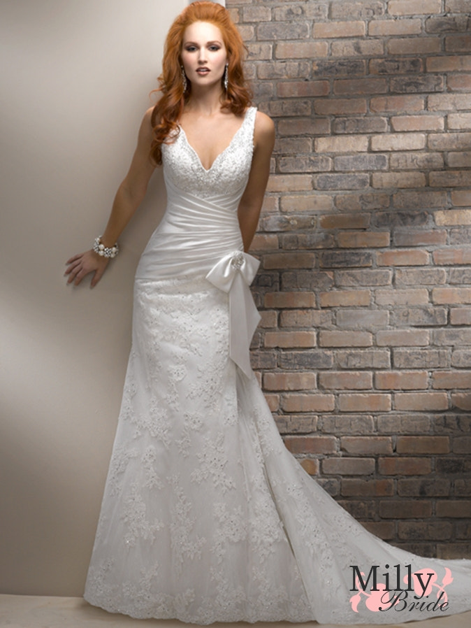 Photograph  Off-the-shoulder neckline court train lace white wedding dresses 2012 BAML0077 View Larger Pic      by Bride Milly on 500px