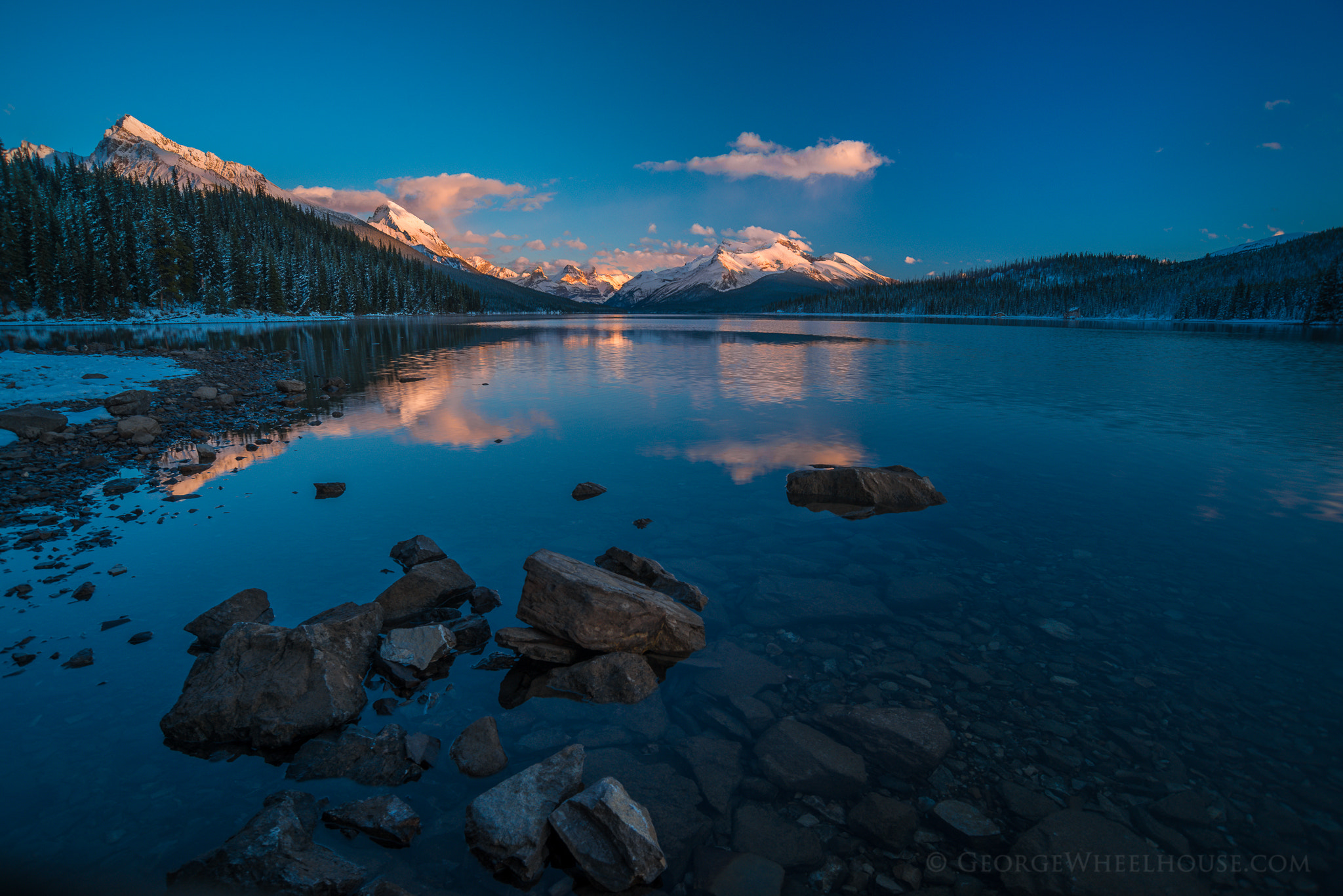 Photograph Maligne Lake Sunset by George Wheelhouse on 500px