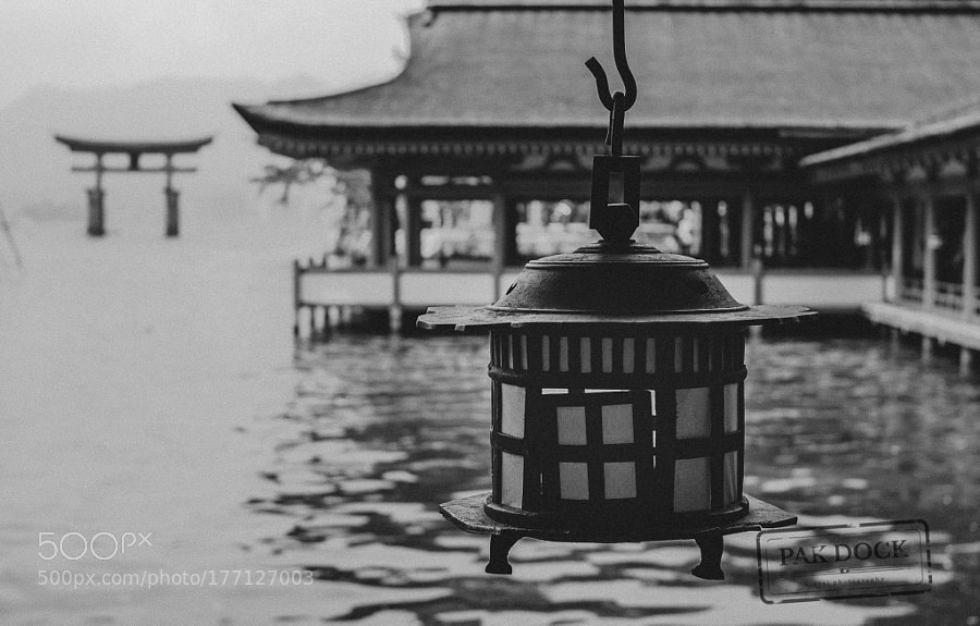 Lamp and the Big Torii - Itsukushima
