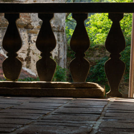 Wooden railing at Pernštejn Castle