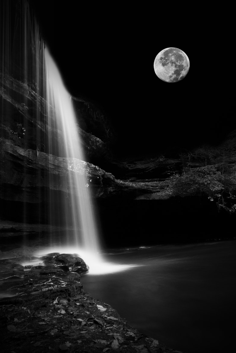 Photograph Moonlit Waterfall by Danny Pugh on 500px