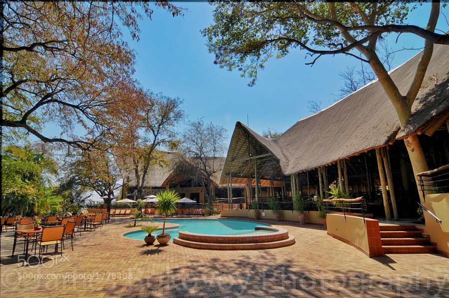 Chobe Safari Lodge-lounge area and pool near Maun, Botswana, Africa.