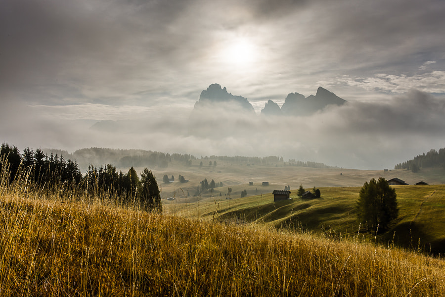 This photo was taken on the last morning of the Dolomites October 2012 photo workshop.  This is an HDR  image created using the Photomatix 32bit HDR plugin for Lightroom. The tone mapping was done in Lightroom 4.2. 7 bracketed shots 1 stop between them were used.