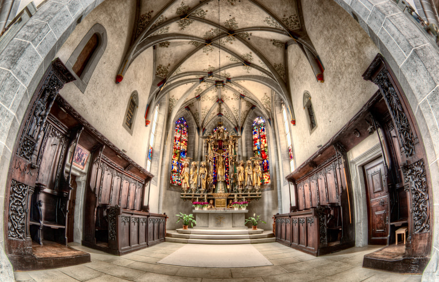 "That's the result of shooting a church interior with a fisheye lens in HDR. I""m not sure the priest would like that...."