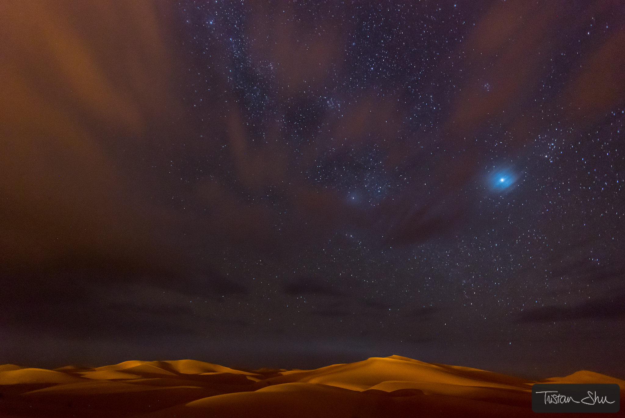 Photograph Stars, Dunes and Clouds in Marzuga Desert by Tristan Shu on 500px