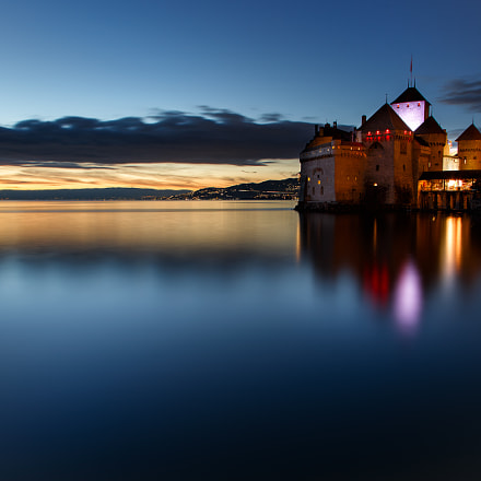 Chillon Castle at Sunset