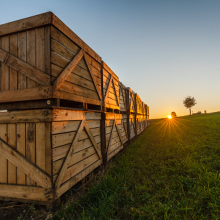 Wooden boxes and sunset, Canon EOS 5D MARK II