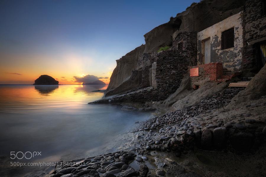 Pollara bay at sunset